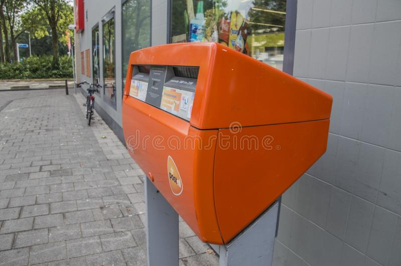 Post.nl Post Box At Amsterdam The Netherlands 2018 royalty free stock image