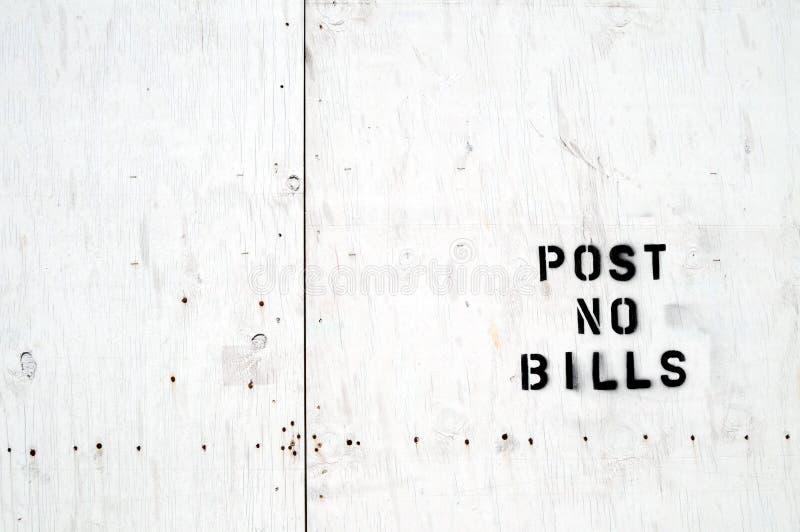 Post no bills stamped on vaneer royalty free stock images