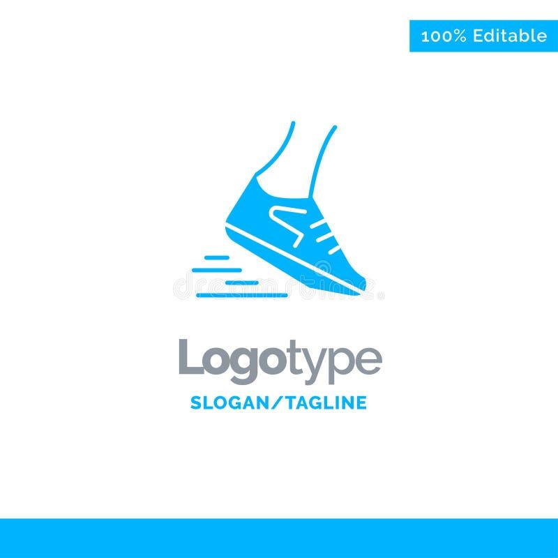Post, noga, bieg, biegacz, Biega Błękitnego Stałego logo szablon Miejsce dla Tagline ilustracji