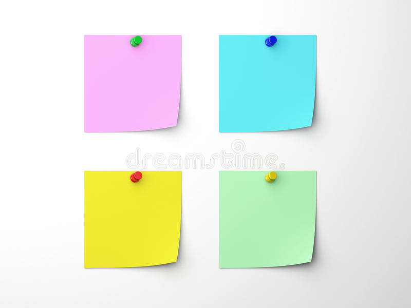 Post It Note. 4 post-it note isolated by white
