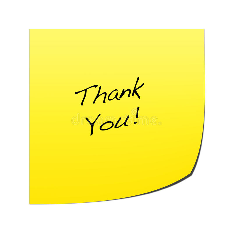 Post It Note. A yellow post it note with writing on a white background royalty free illustration