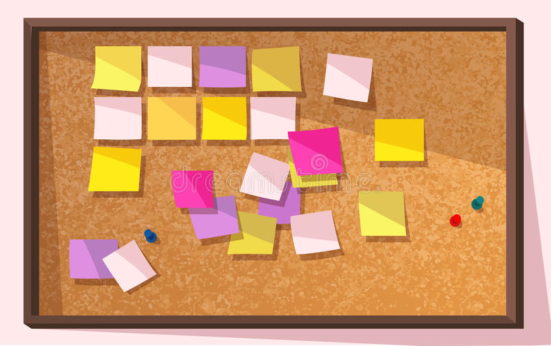 Post-it Note Board - Vector. Vector illustration of a cork-wood bulletin board, with pins and colorful post-it notes vector illustration