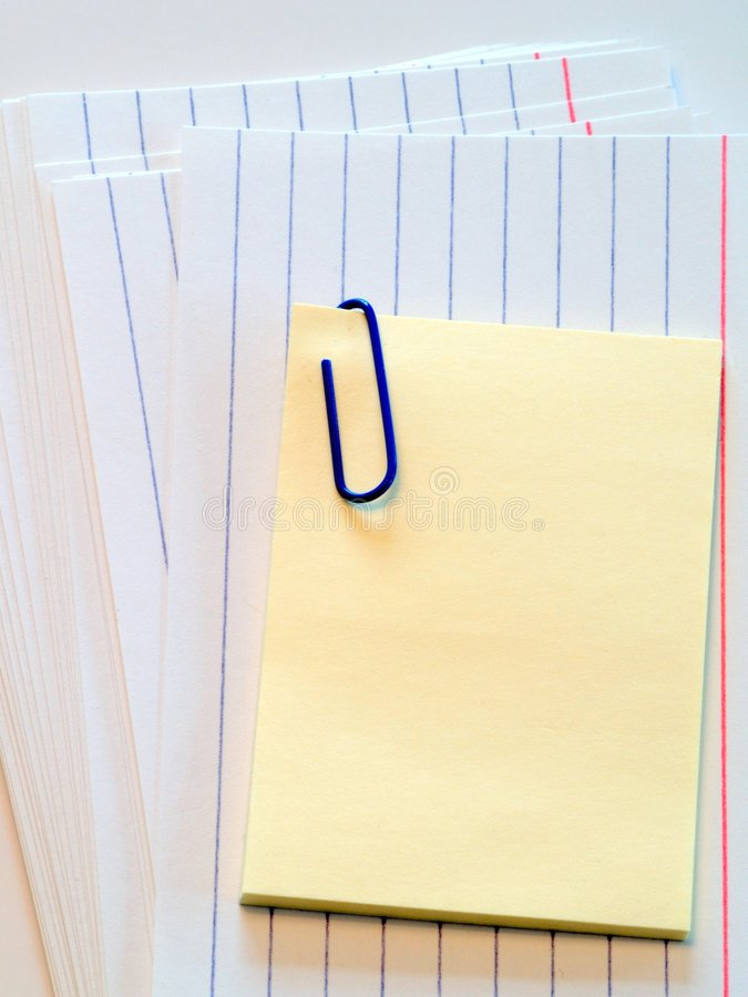 Post it note on cue cards. A reminder for a presentation backed by cue cards. Add your own text stock photos