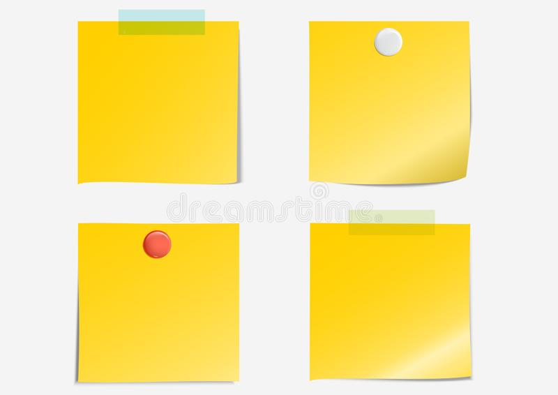 Post note label dark yellow paper sticky tape white and red thumb tacks set on gray background with shadow - Vector Illustration. 4 Post notes label dark yellow stock illustration