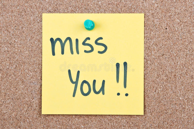 Post it note with miss you stock image