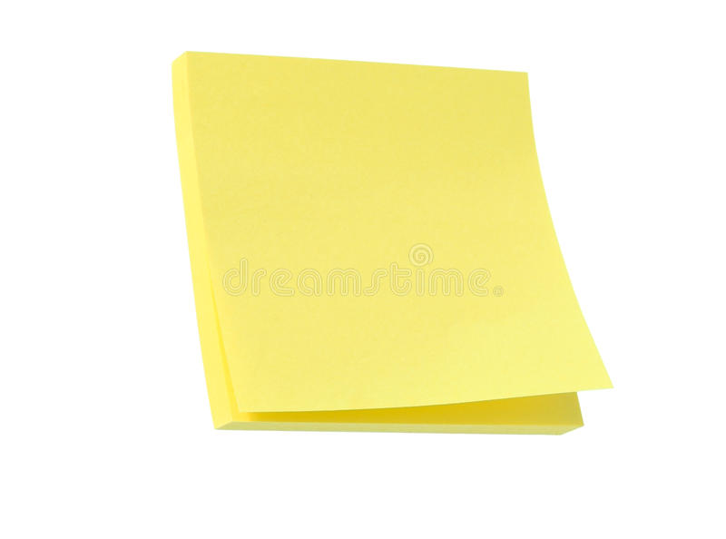Post it note pad. Yellow post it note pad isolated on white royalty free stock photography
