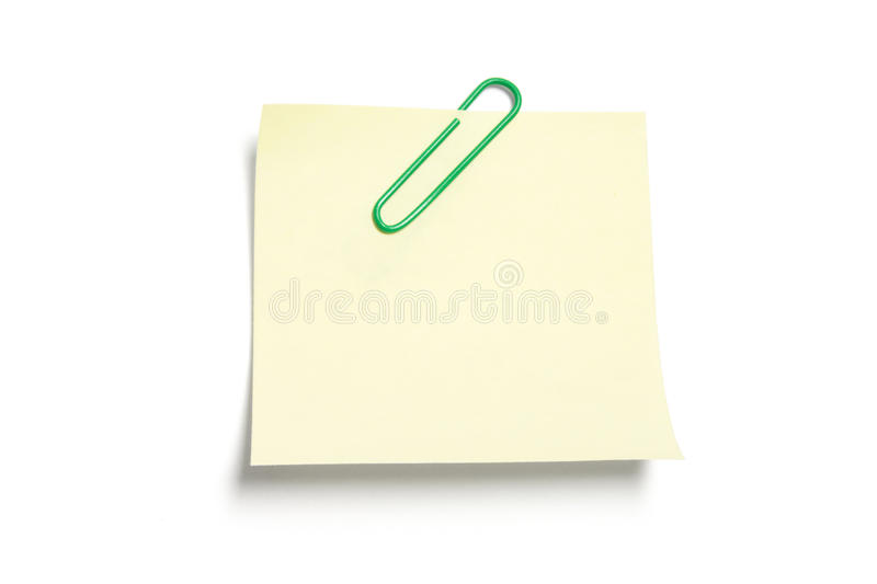 Download Post It Note Paper With Paperclip Stock Photo - Image: 9677410