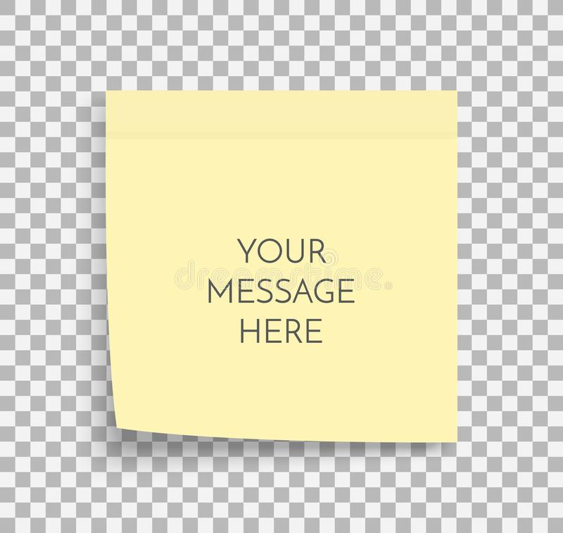Post note paper sheet. Sticky sticker. Vector office memo template. Blank yellow square adhesive sticker mock up. stock illustration