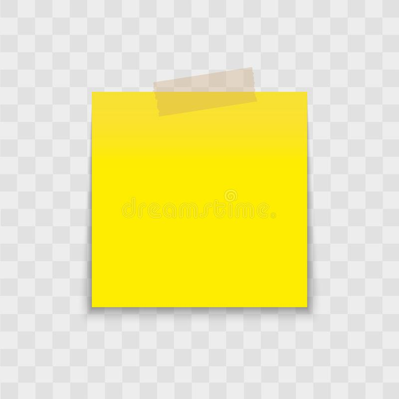 Post note paper sticker pin with sticky tape on transparent background. Vector. stock photo