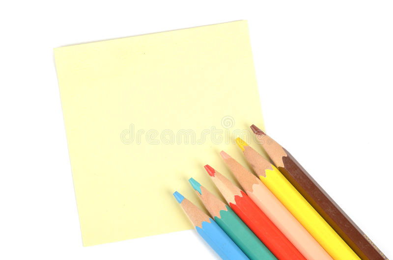 Download Post-it note and pencil stock image. Image of memory - 23680689