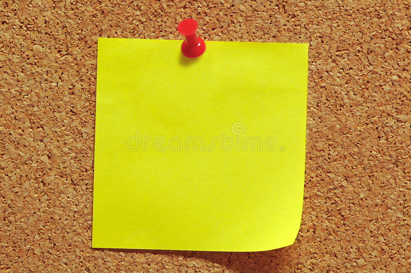 Post-It Note and Push Pin stock photos