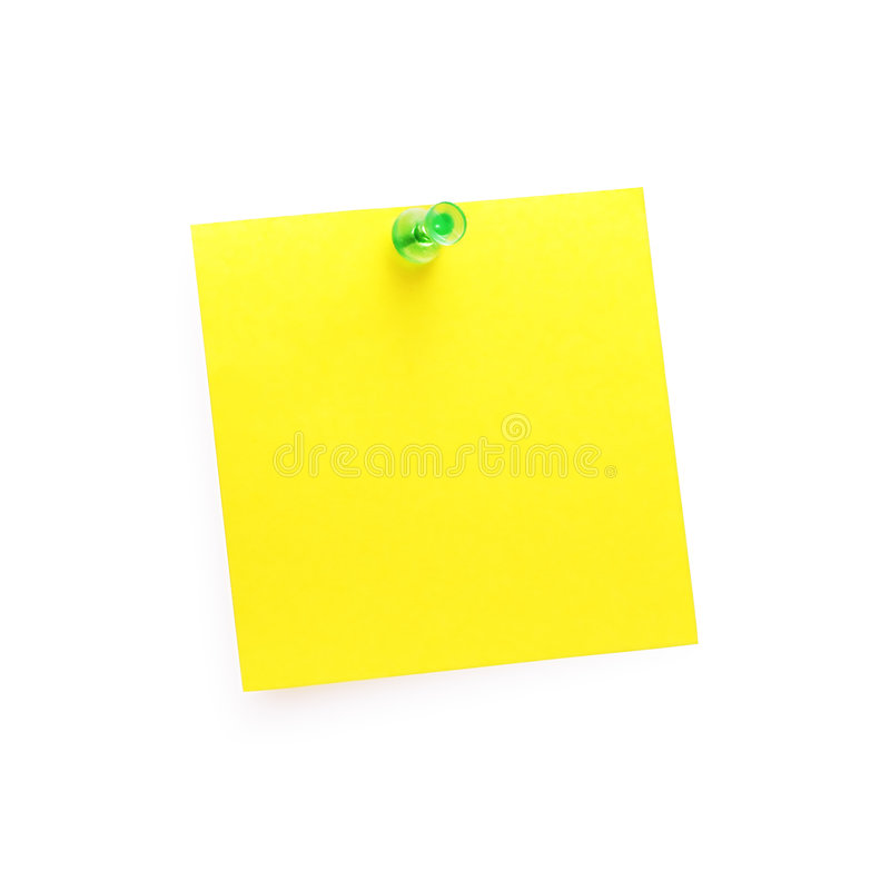 Post-It Note with Push Pin royalty free stock image