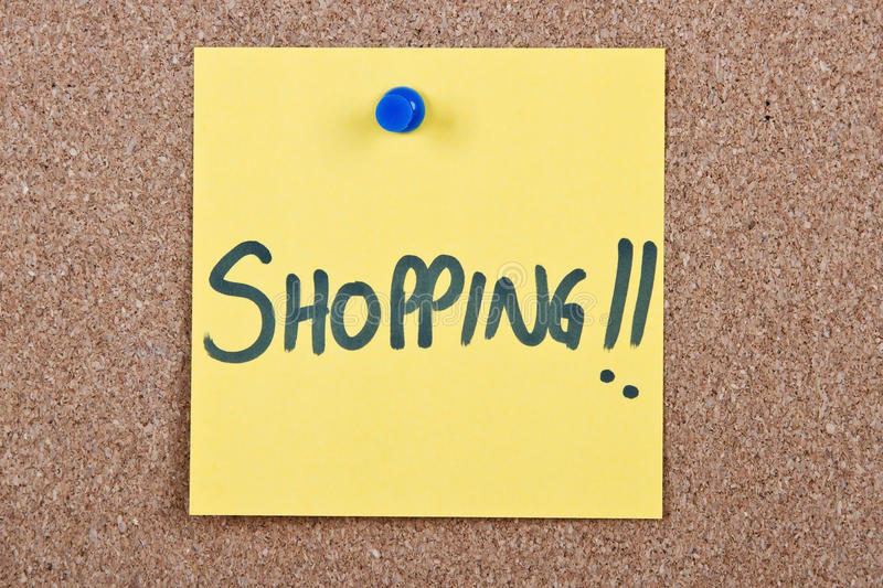 Download Post it note with shopping stock image. Image of pushpin - 32400571
