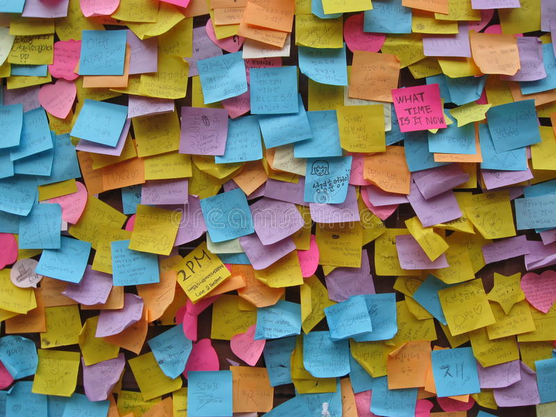 Post it note wishes thoughts and prayers. royalty free stock image