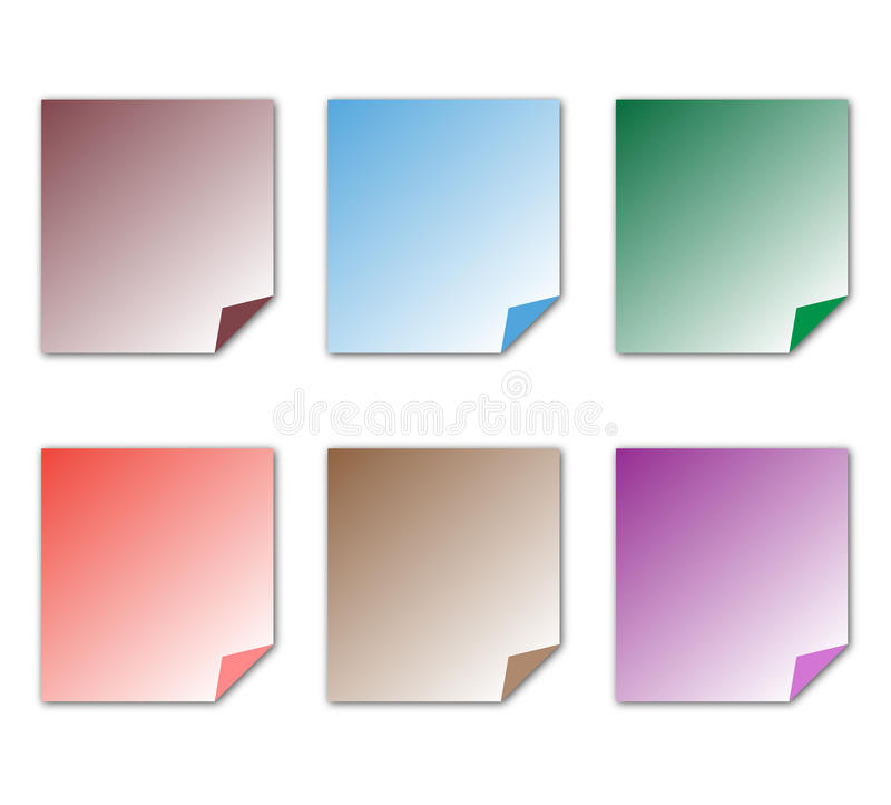 Post it Notes color paper white background. Post it notes in different colors isolated on white background. Office, school, stationery, object, message. Blank stock illustration
