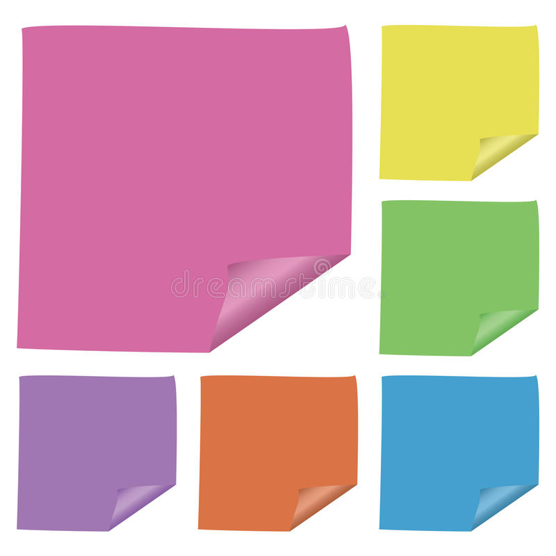 Post-it notes. Different color of Vector post-it notes stock illustration