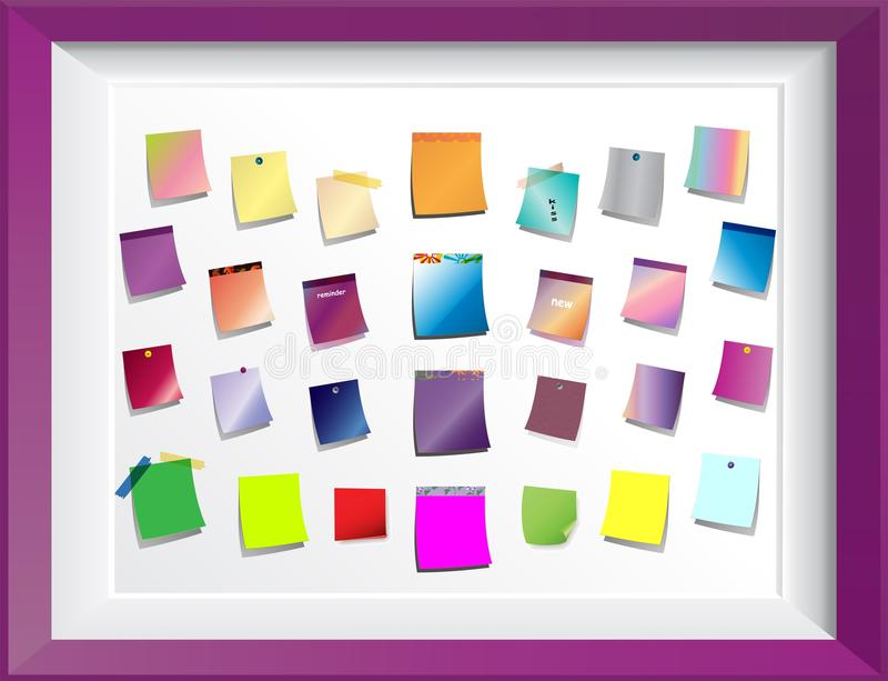 Post it notes sticker on frame. Planning and Organizing with Post It Notes on white board. Sticky notes different colors with spins royalty free illustration