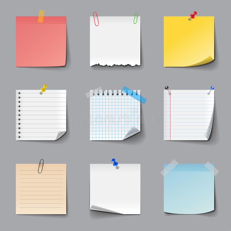 Post it notes icons vector set vector illustration