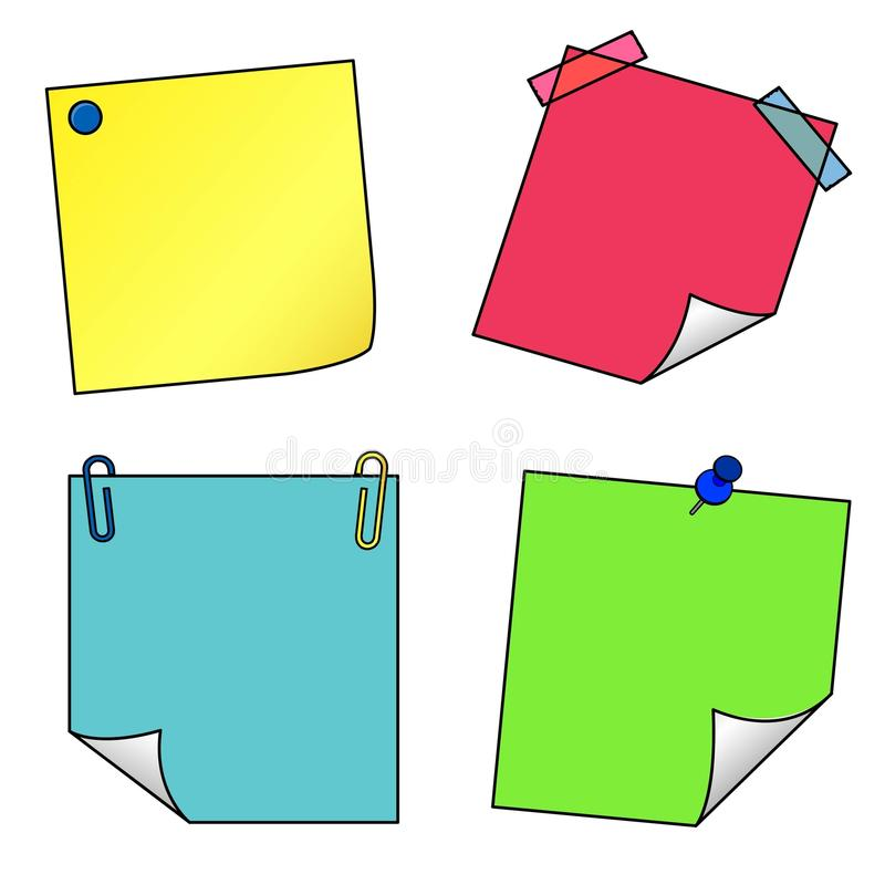 Post it notes icons vector set stock illustration