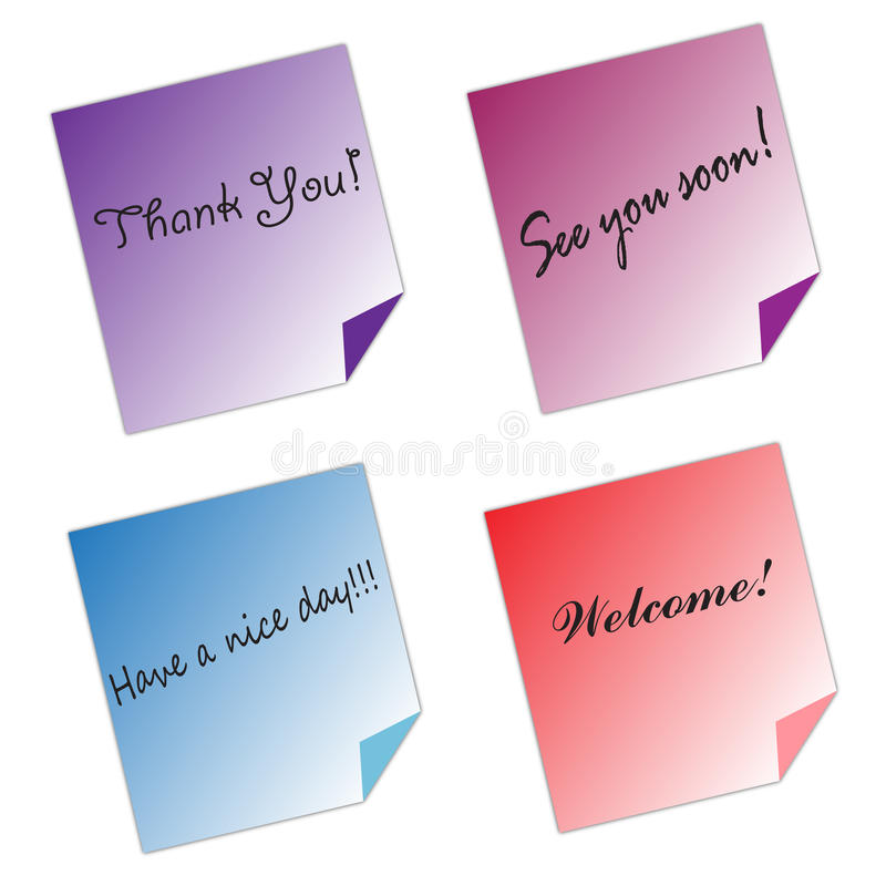 Post it Notes messages color paper white background. Post it notes in different colors isolated on white background. Office, school, stationery, object, message stock illustration