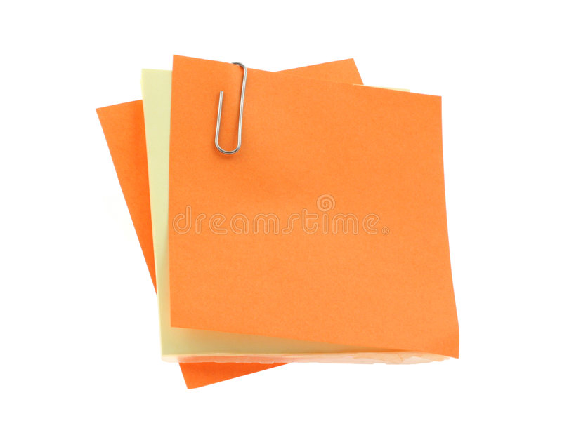 Download Blank Notes With A Paperclip On Pure White Backgro Stock Photo - Image: 676590