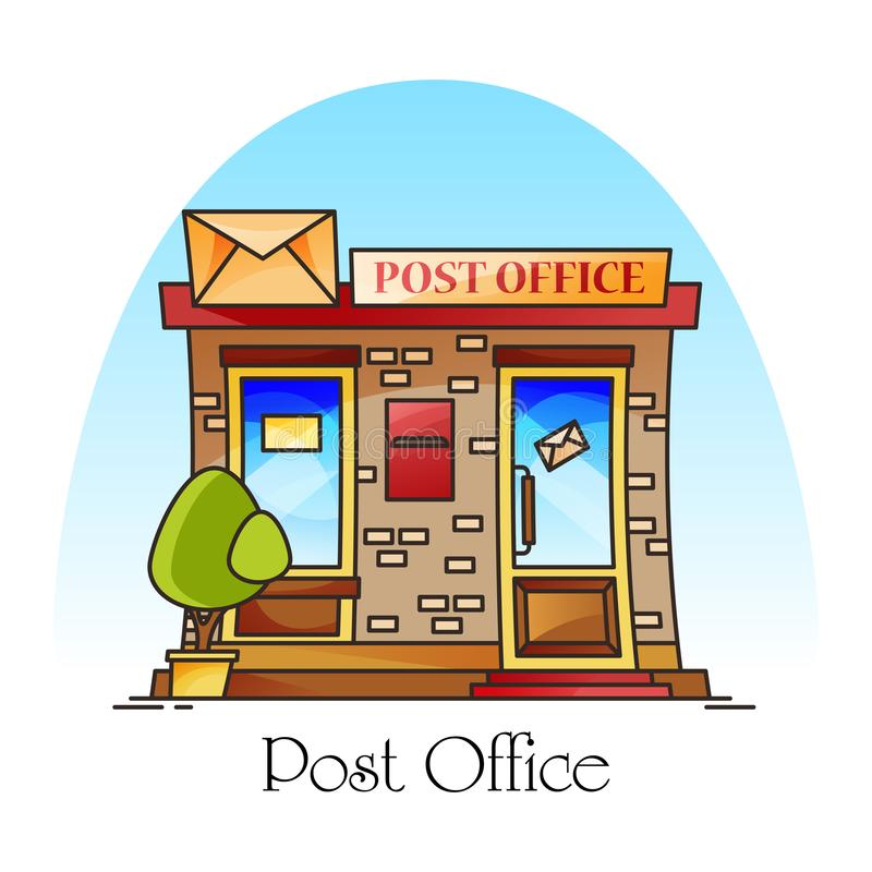 Post office building exterior view, mail delivery. Post office building exterior view. Facade of structure or counter with envelope for mail or parcel delivery vector illustration