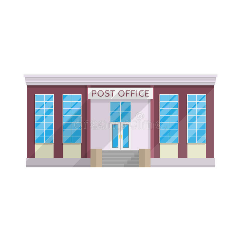 Post office building in flat style isolated on white background royalty free illustration