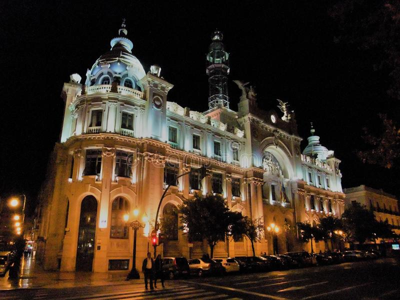 post office building at night in Valencia Spain royalty free stock photography