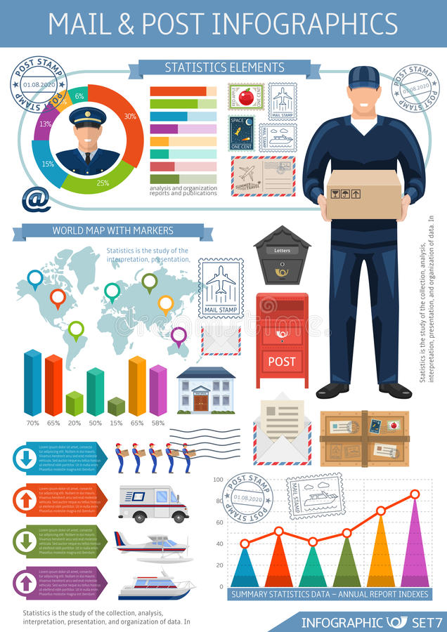 Post office infographics stock vector illustration of mailbox post office infographics with world map business elements transportation statistics and diagrams on white background vector illustration gumiabroncs Gallery