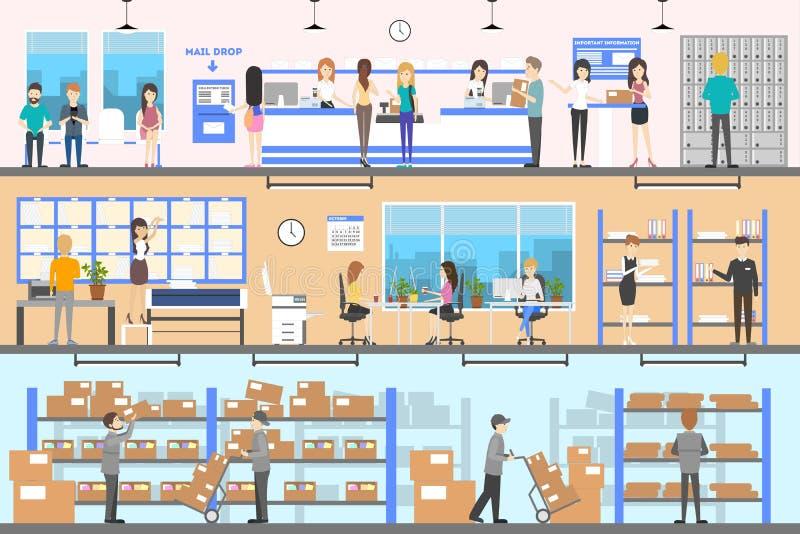 Post office interior set. vector illustration