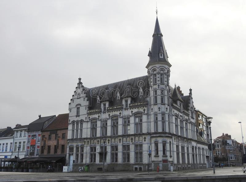 Post office - Lokeren - Belgium. This post office was built in 1906-1907 with a design by engineer-architect Alfons Van Houcke 1858 - 1908. This remarkable royalty free stock image