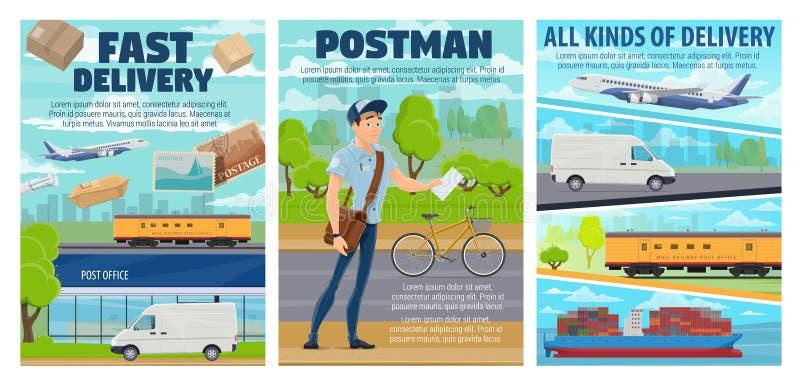 Post office, mail delivery transport, postman vector illustration