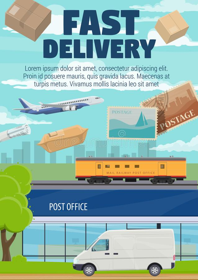 Post office mail and parcels fast delivery vector illustration