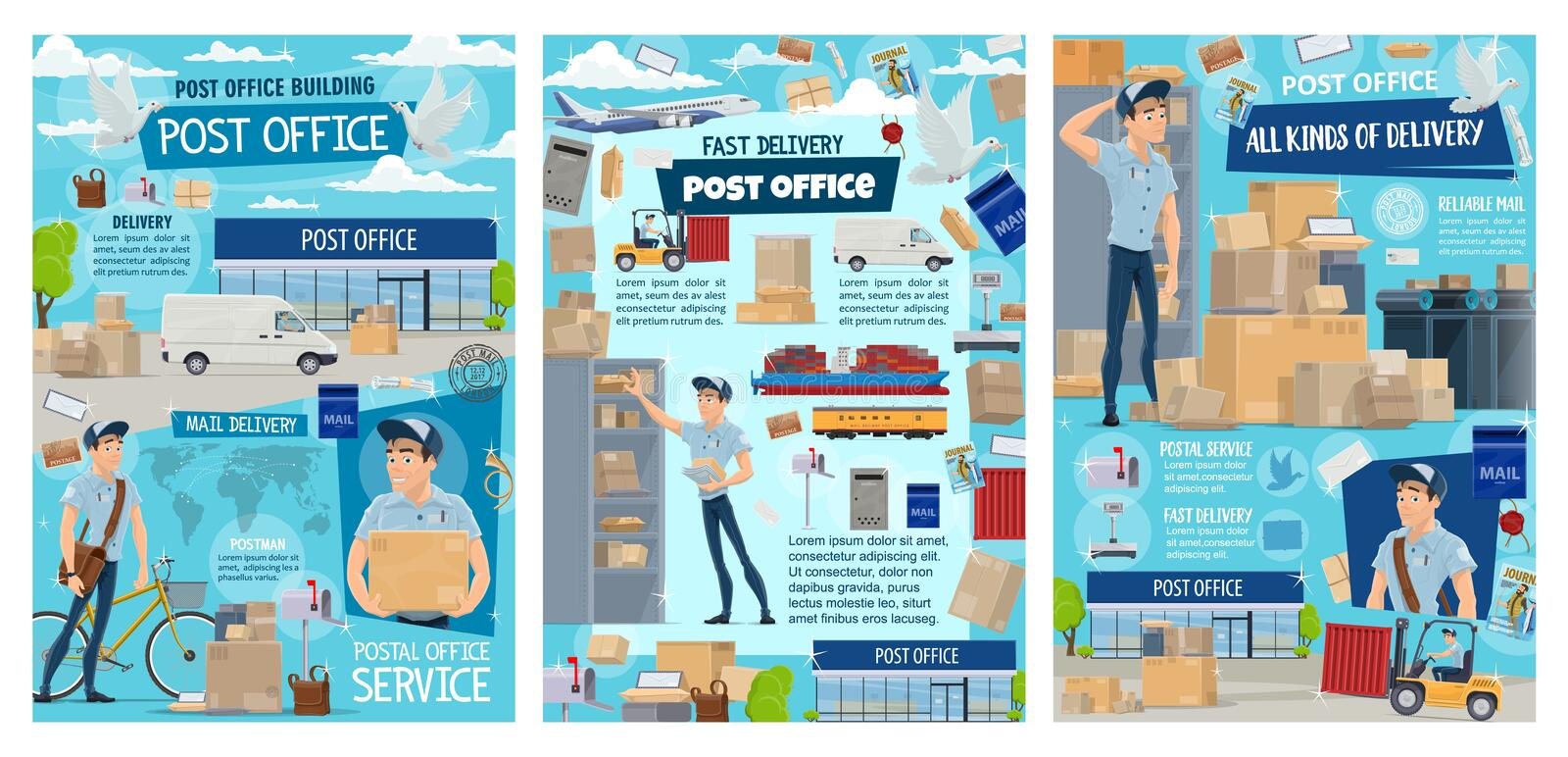 Post office, postman, mail and parcel delivery royalty free illustration