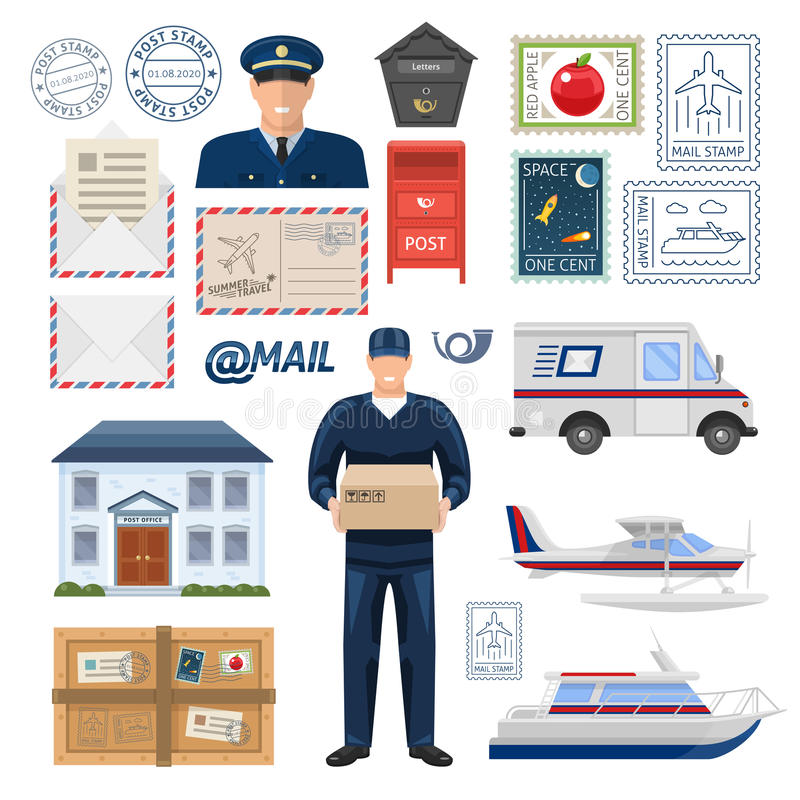Free Post Office Set Stock Image - 76562991