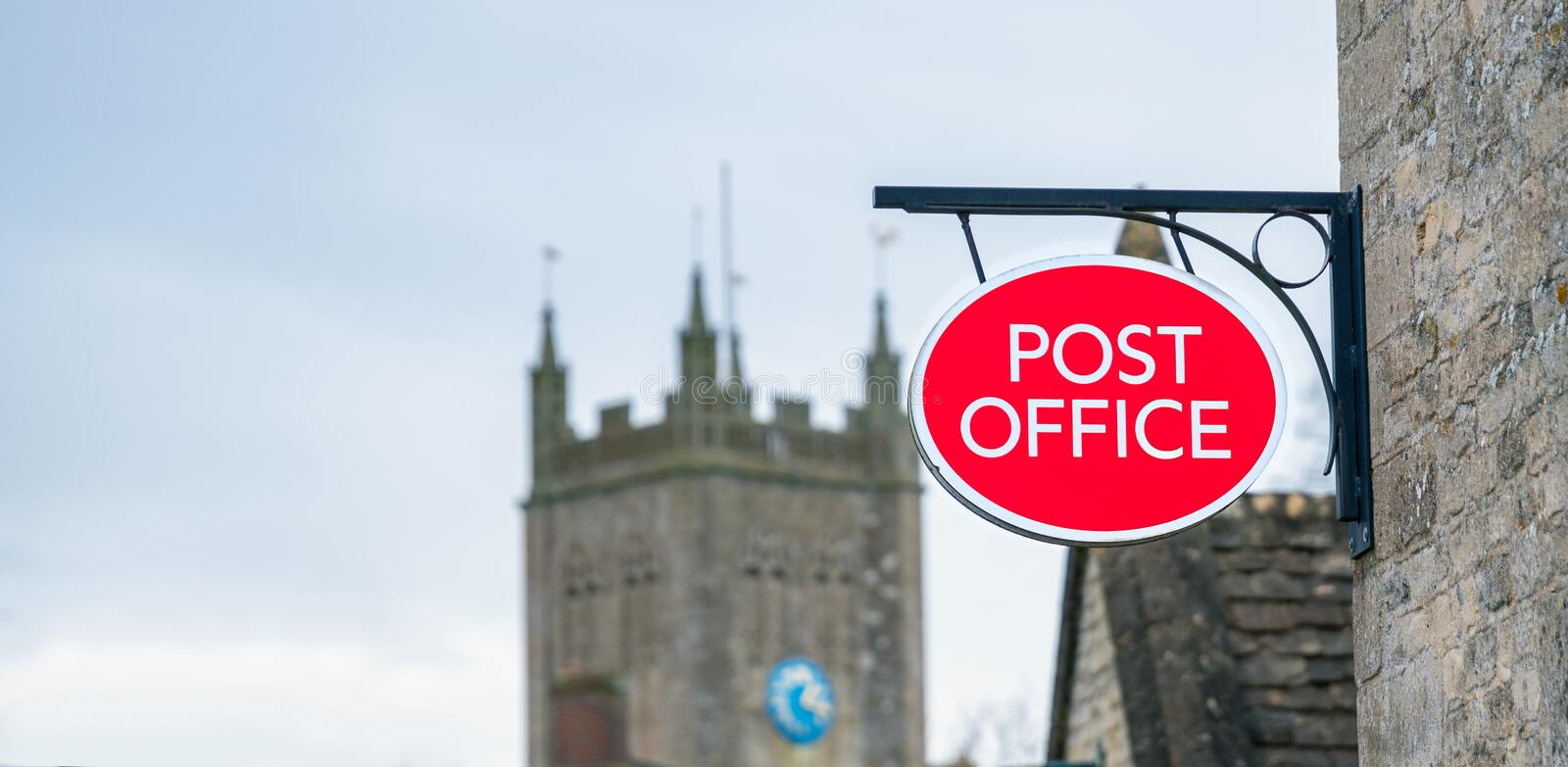 Post Office sign in rural location. England, United kingdom royalty free stock photo