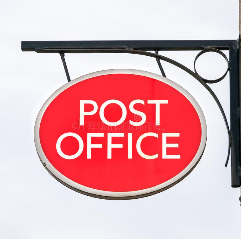 Post Office sign in rural location,. England, United kingdom royalty free stock images
