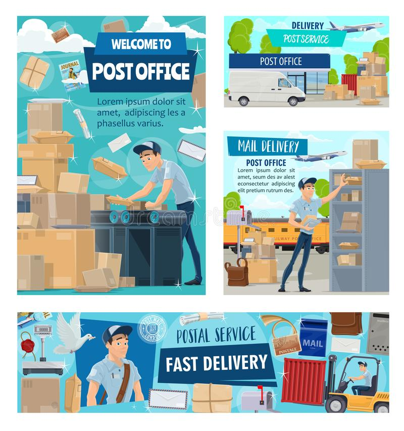 Post office worker, mail delivery courier staff royalty free illustration