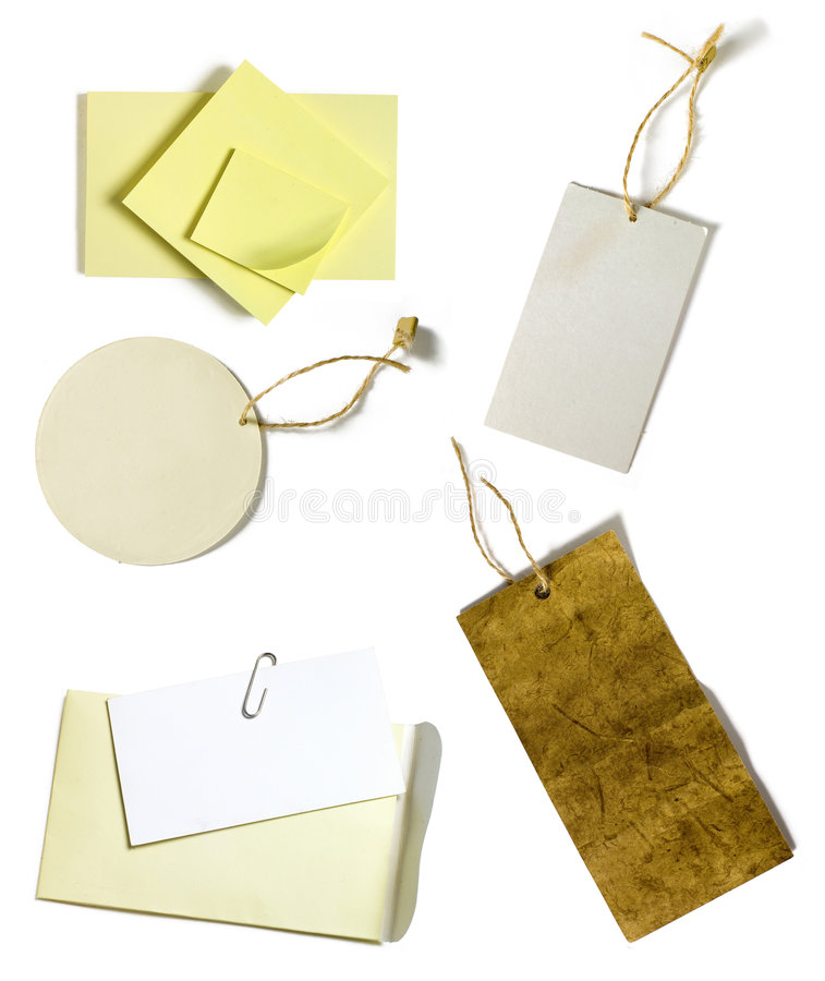 Post it and paper tag stock photo