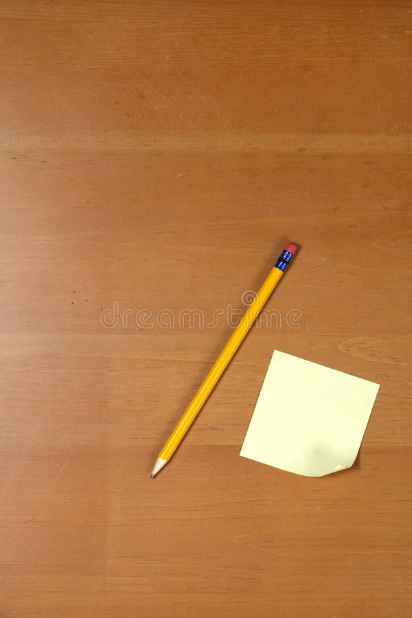 Download Post it and Pencil on desk stock photo. Image of note - 5123492