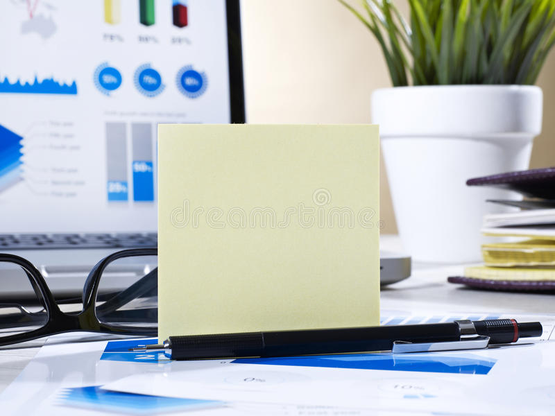 Post it and pencil on office table stock photos