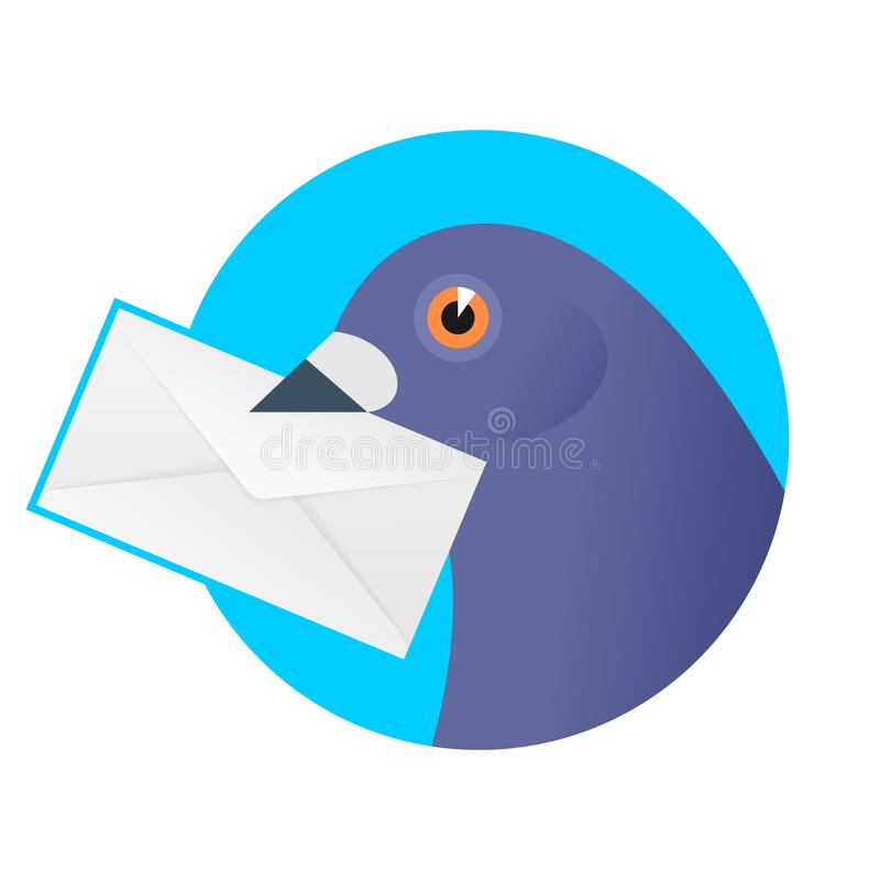 A post pigeon with an envelope in the beak. vector illustration