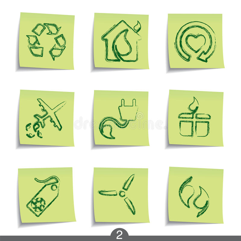Download Post it series - ecology stock vector. Illustration of icon - 13614077