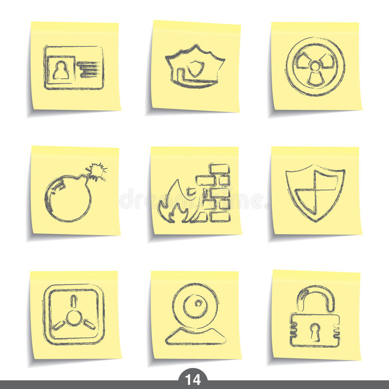 Download Post it series - security stock vector. Image of collection - 13614054