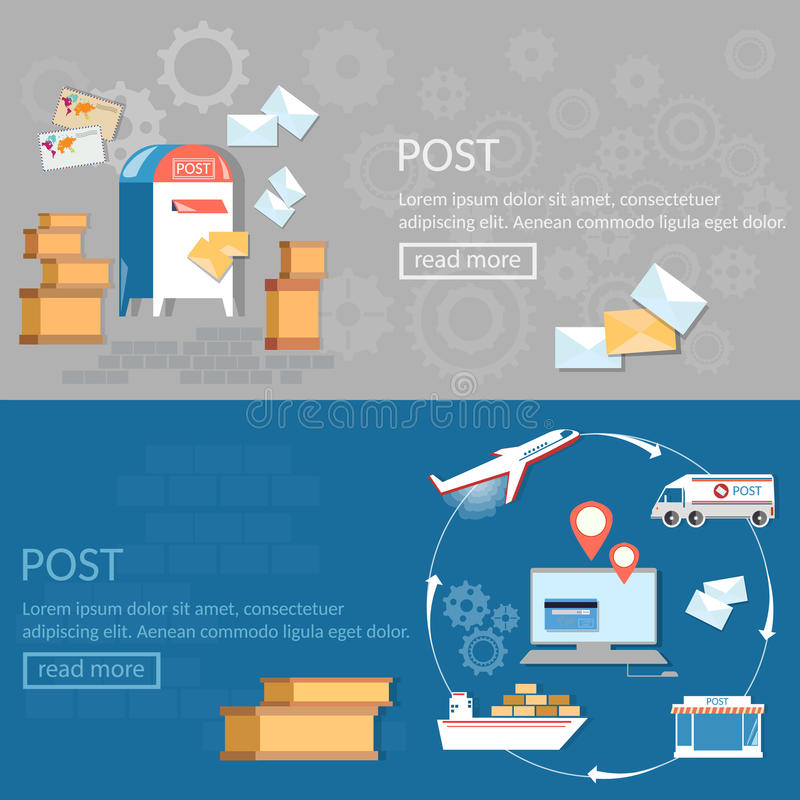 Post services banners international delivery and logistic. Parcels vector illustration stock illustration