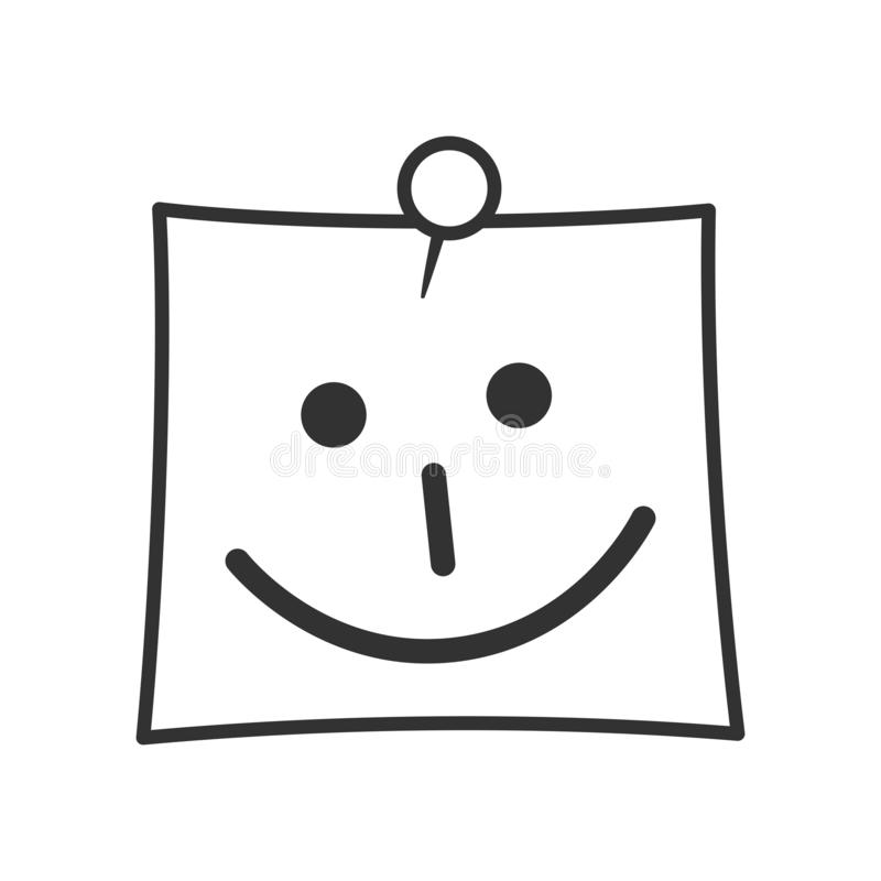 Post It with Smile Outline Flat Icon on White royalty free stock photography