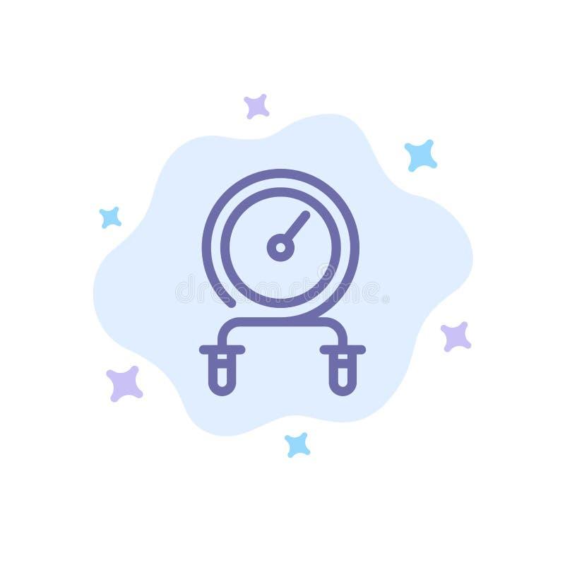 Post, sprawność fizyczna, uderzenie, natężenie, Trenuje Błękitną ikonę na abstrakt chmury tle royalty ilustracja