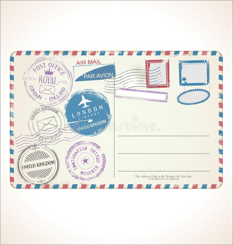 Post- stämpel och vykort på den vita bakgrundspoststolpen - kontorsflygpost vektor illustrationer