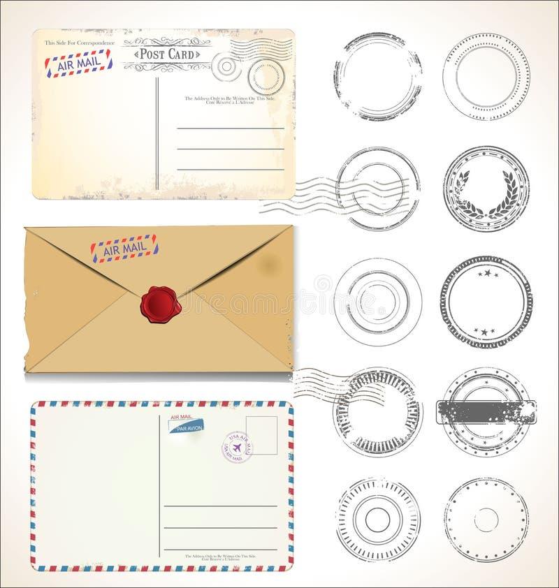 Post- stämpel och vykort på den vita bakgrundspoststolpen - kontorsflygpost stock illustrationer