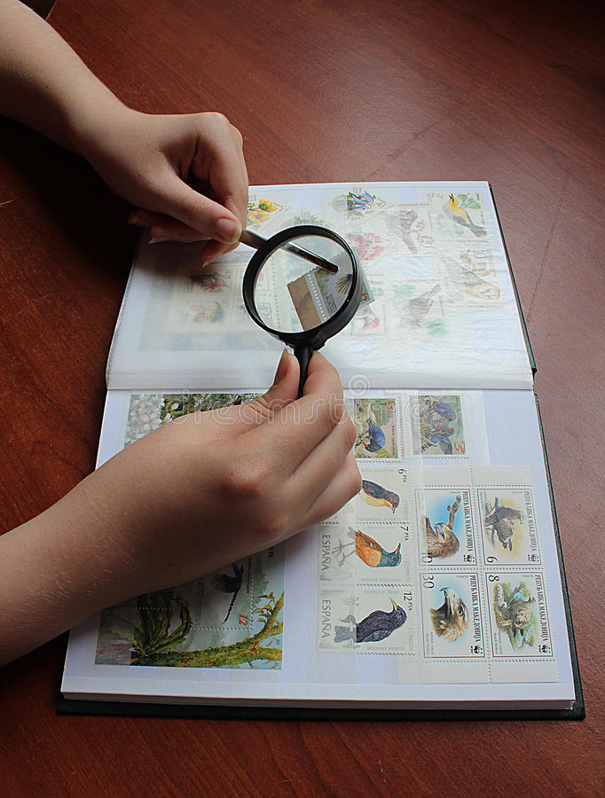 Post stamp collecting stock photography